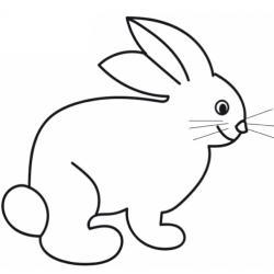 Dessin d'un lapin assis sur ses pattes arrières et son petit derrière à imprimer pour le coloriage. Sur ce coloriage le petit lapin est vu de profil.
