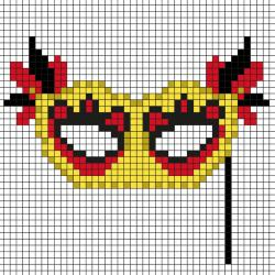 Comment faire un pixel art en forme de masque de Carnaval ? Il suffit de suivre notre modèle afin de réaliser chaque carré. Petit à petit vous arriverez à réaliser ce masque de Carnaval et Mardi-Gars ! Imprimez rapidement notre grille quadrillée et mettez