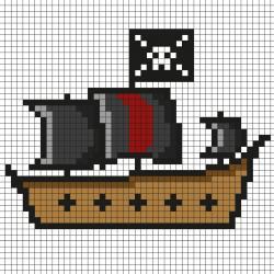 Réaliser ce beau Pixel Art d'un vrai navire et bateau de Pirate en prenant un quadrillage afin de reproduire les carrés colorés. C'est simple à faire et très drôle pour les enfant.