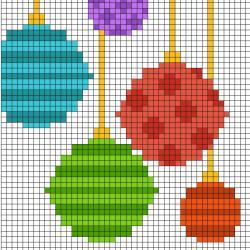 Ce modèle de Pixel Art vous permettra de réaliser un décor de boules de Noël. Il vous suffira de prendre une feuille quadrillée ou d'imprimer notre grille afin de pouvoir reproduire chaque carré coloré.