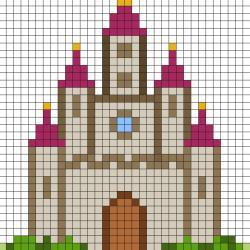 Réaliser ce beau Pixel Art d'un grand château en prenant un quadrillage afin de reproduire les carrés colorés. Vous pourrez alors reproduire ce château pour le plus grand bonheur des petits et des grands.