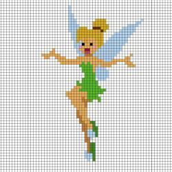 Réaliser la fée Clochette en Pixel Art en prenant un quadrillage afin de reproduire les carrés colorés. Vous pourrez alors avoir une superbe fée clochette qui vous permettra de réaliser tous les voeux.