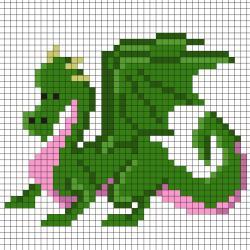 Réaliser ce beau Pixel Art d'un dragon effrayant en prenant un quadrillage afin de reproduire les carrés colorés. Vous pourrez alors reproduire ce dragon pour le plus grand bonheur des petits et des grands.