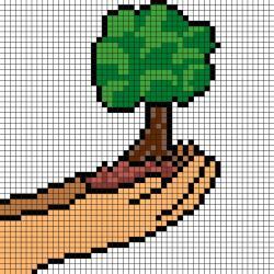 Modèle de Pixel Art d'un arbre au creux des mains  sur un papier quadrillé. Une bonne idée pour la journée de la Terre.