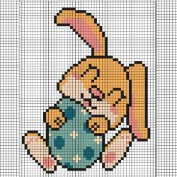 Ce modèle de Pixel Art vous permettra de réaliser un petit lapin de Pâques. Il vous suffira de prendre une feuille quadrillée ou d'imprimer notre grille afin de pouvoir reproduire chaque carré coloré.