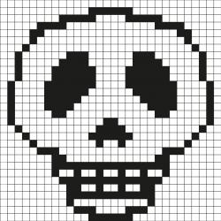 Comment faire un pixel art de tête de mort Tout simplement en suivant notre modèle à imprimer gratuitement. Imprimez notre quadrillage et reproduisez la tête de mort pour créer de la décoration d'Halloween. Simple et rapide à faire  !
