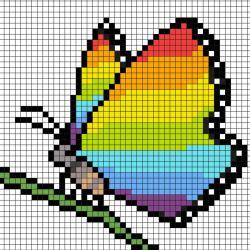 Comment faire un pixel art de papillon? Il suffit de suivre notre modèle afin de réaliser chaque carré. Petit à petit vous arriverez à réaliser ce ce joli papillon multicolore parfait pour le Printemps ! Imprimez rapidement notre grille quadrillée et mett