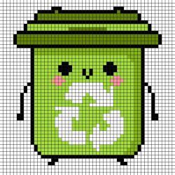 Modèle de Pixel Art poubelle de tri sélectif à reproduire sur un papier quadrillé. Une bonne idée pour la journée de la Terre.