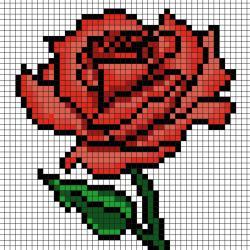 Offrez une jolie rose à chaque maman pour la Fête des mères grâce à ce modèle en Pixel Art. Imprimez gratuitement  notre modèle simple qui vous permettra de créer facilement une rose pour maman en Pixel Art. Il vous suffira de prendre du papier quadrillé
