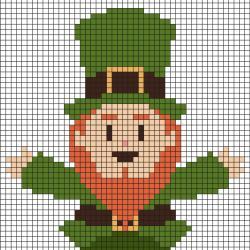 Vous cherchez des pixel Art de Saint Patrick, St Patrick ? Retrouvez le prechaun, trésor ou encore chapeau qui vous permettront de faire des Pixel Art sur le thème de la Saint Patrick.