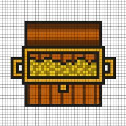 Réaliser ce beau Pixel Art afin de trouver le plus beau trésor de Pirate en prenant un quadrillage afin de reproduire les carrés colorés. C'est simple à faire et très drôle pour les enfant.