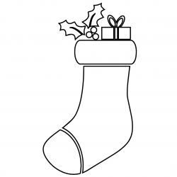 Pochoir chaussette de Noël à imprimer afin de décorer la mason. Il suffit de découper en suivant les traits.
