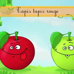 Pomme de reinette et pomme d'api, les paroles de la chanson. Mais aussi la vidéo et la partition. comptine d'enfant. Paroles et partition  de la chanson à coller par l'enfant dans un cahier de chants.