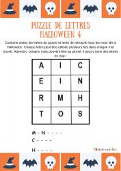 Un jeu à imprimer pour enrichir son vocabulaire sur le thème de l'horreur. Les enfants doivent retrouver 3 mots de vocabulaire pouvant être écrit avec les lettres de la grille proposée.