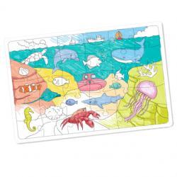 Puzzle LA MER en carton blanc à colorier