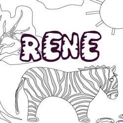 Imprimer le coloriage du prénom RENE. Un coloriage pour jouer avec les lettres du prénom RENE sur fond de décor savane.