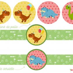 Printable gouter pour anniversaire sut un thème dinosaure à imprimer gratuitement. Des ronds de serviette et des décorations de paille pour un gouter inoubliable lors d'un anniversaire dinosaure..