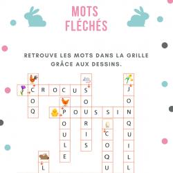 Grille solution du jeu  de mots fléchés sur les mots qui définissent le printemps et Pà¢ques.