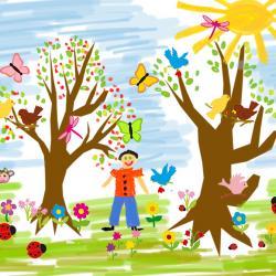 Pour les petits et les grands voici une idée simple à mettre en œuvre : le tableau paysage de printemps mixant les dessins aux feutres et les gommettes à coller pour tous les détails.  Le printemps est l'occasion de laisser les couleurs exploser ! La réal