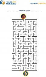 Un jeu en ligne à imprimer pour les enfants - Labyrinthe championnat du monde de Handball copie