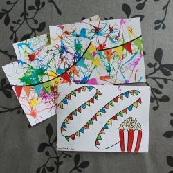 tuto pour bricoler avec les enfants une carte d'invitation thème feu d'artifice