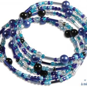 Bracelets en perles de rocaille, camaïeu de bleus