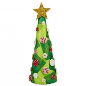 Comment fabriquer un sapin de Noël avec un cône de papier et des boutons