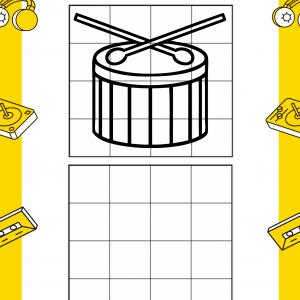 Imprimez gratuitement ce jeu pour la Fête de la musique ou pour une semaine sur le thème de la musique. Grâce au dessin, vous apprendrez à dessiner un tambour en reproduisant le dessin du dessus dans le tableau du dessous