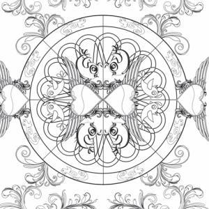 """Un coloriage complexe composé d'un mandala, de coeurs ailés et d'arabesques à imprimer. Prenez vos crayons de couleur, retrouvez le plaisir du """"lâché prise"""" et découvrez l'artiste qui est en vous ! Un coloriage romantique, glamour et rock"""