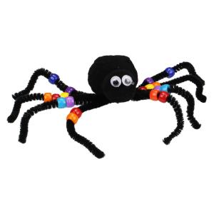 Voici une idée DIY pour fabriquer une élégante araignée en pompons et perles colorées.