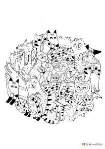 Voici un coloriage d'animaux mignons en cercle. un dessin plein d'amour.