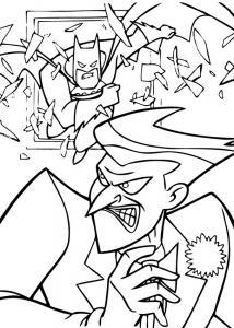 Coloriage du super héro Batman contre le joker