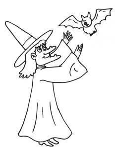 Coloriage chauve-souris et la sorcière