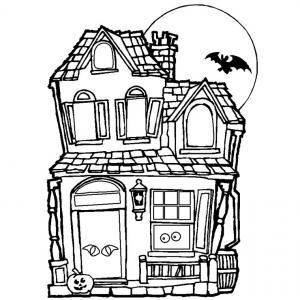 Coloriage maison hantée #01