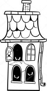 Coloriage maison hantée #03