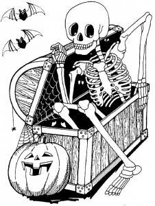 Coloriage squelette #03