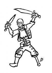 Coloriage squelette #08