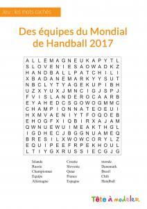 Un jeu en ligne à imprimer pour les enfants - Mots cachés championnat du monde de Handball