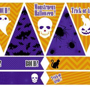 Printables gouter d'Halloween à imprimer pour organiser votre gouter d'Halloween monstrueux ! Des fanions a accrocher sur une ficelle et des cake toppers à plier en deux et à mettre sur des cure dents afin de décorer vos gateaux.