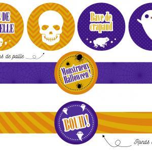 Printable gouter d'Halloween à imprimer gratuitement pour un monstrueux gouter d'halloween. Des ronds de serviette et des décorations de paille pour un gouter inoubliable lors de la journée d'halloween.