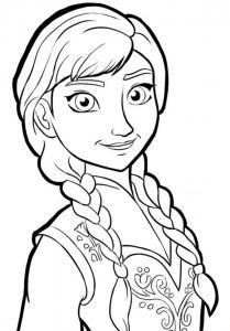 Un coloriage de l'intrépide et courageuse Anna, l'héroïne du dessin animé la Reine des Neiges