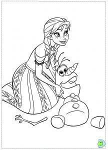 Dessin à imprimer gratuitement d'Anna et Olaf de la reine des neiges.
