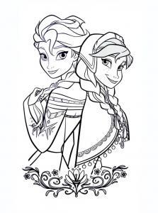 Un dessin à imprimer et à colorier d'Elsa et Anne, les deux soeurs du dessin animé la reine des neiges