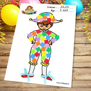 Découvrez une activité facile basée sur le coloriage et le collage sur le thème du carnaval.  Imprimez notre motif Arlequin afin que les enfants puissent le décorer en le coloriant et en collant des stickers mosaïques en caoutchouc et des petits nœuds.