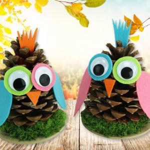 Un bricolage amusant à faire avec les enfants cet automne.  Pour fabriquer ces hiboux les enfants utiliseront simplement une pomme de pin, un peu de feutrine et quelques accessoires.  Une activité facile et pleine de couleurs !