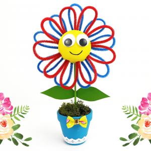 Découvrez aujourd'hui une activité manuelle passionnante qui permettra aux enfants de fabriquer une jolie fleur dans son pot.    Les enfants s'amuseront à peindre les différents éléments puis ils devront former les pétales de la fleur en plan
