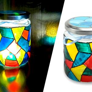 Au cours de cette activité nous allons transformer un simple pot en verre en un sublime photophore effet vitrail grâce à de la peinture et quelques jolis accessoires.