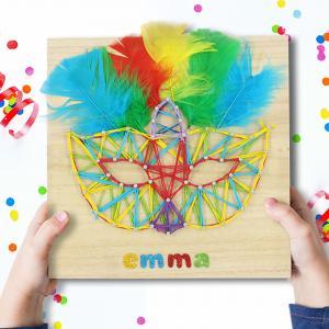 """Découvrez notre String Art spécial carnaval !  Cette activité va permettre à vos enfants non seulement de réaliser un joli tableau mais aussi de développer motricité, créativité et précision !    Pour IMPRIMER le modèle cliquez sur """"Fiche technique"""