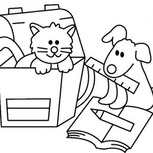 Chat et chien 01 - motif à imprimer