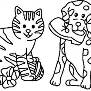 Chat et chien 02 - motif à imprimer